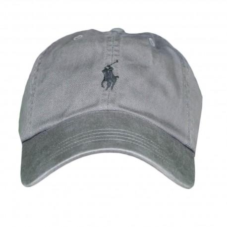 Casquette Ralph Lauren grise logo noir pour homme