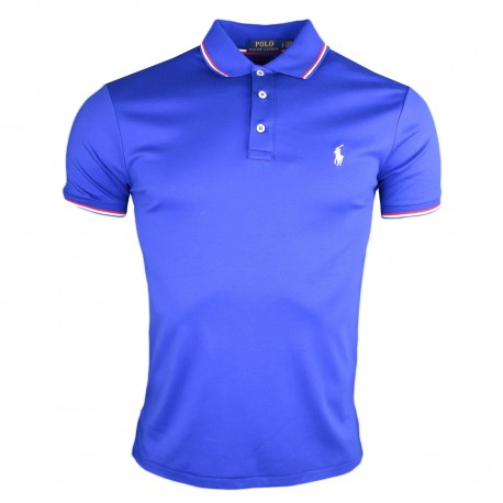 Polo Ralph Lauren bleu France en jersey custom fit pour homme