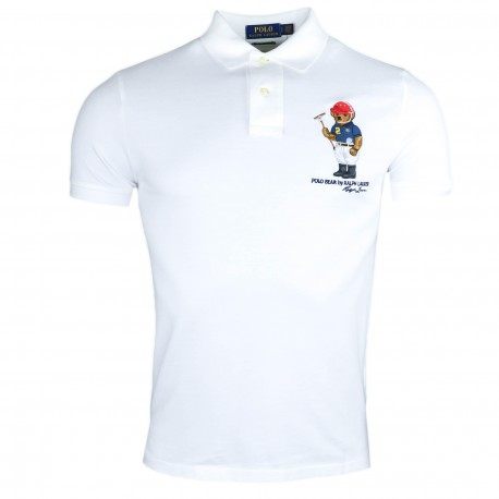 Polo Ralph Lauren blanc Teddy Bear custom fit pour homme