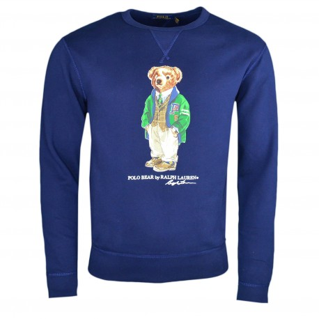 Sweat col rond Ralph Lauren bleu marine Polo Bear pour homme