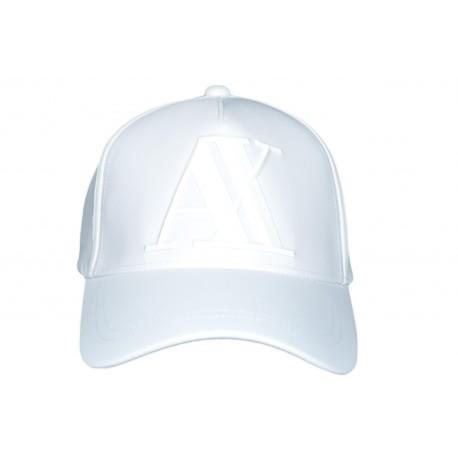 Casquette Armani Exchange blanche logo gomme en élastomultiester pour homme
