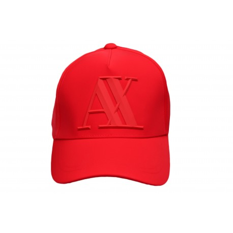Casquette Armani Exchange rouge logo gomme en élastomultiester pour homme