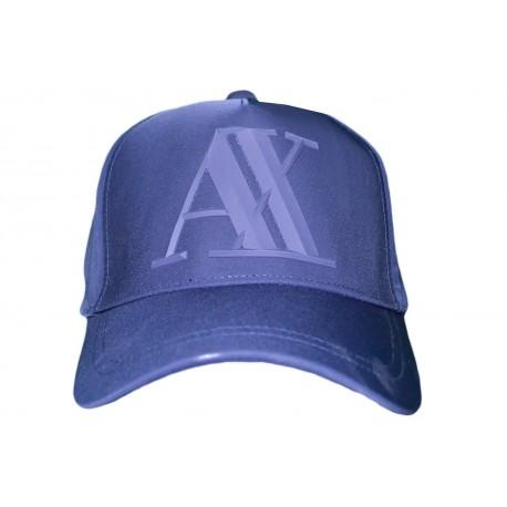 Casquette Armani Exchange bleu marine logo gomme en élastomultiester pour homme