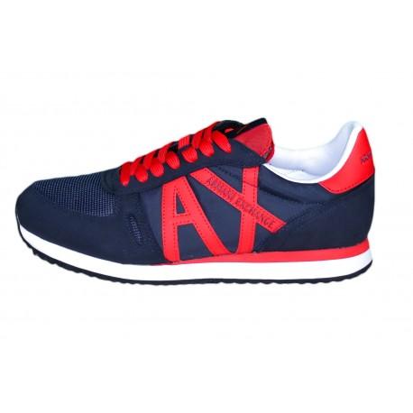 Baskets sneakers Armani Exchange bleu marine et rouge pour homme