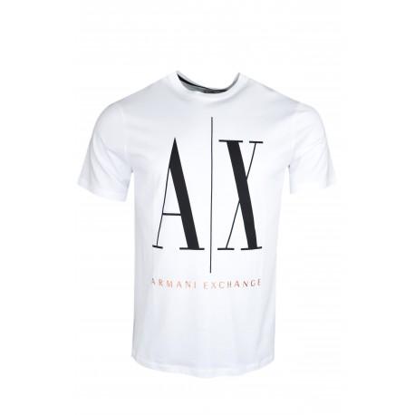 T-shirt Armani Exchange blanc big logo pour homme