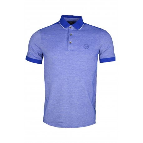 Polo Armani Exchange bleu irisé en piqué pour homme
