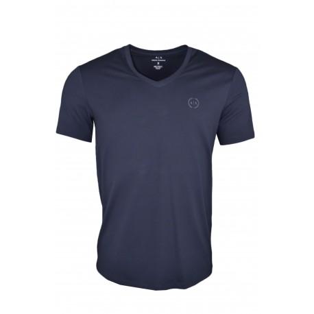 T-shirt col V Armani Exchange bleu marine basique pour homme