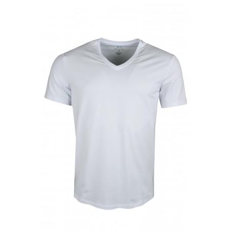 T-shirt col V Armani Exchange blanc basique pour homme