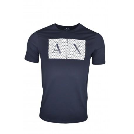 T-shirt Armani Exchange bleu marine logo quadrillé pour homme