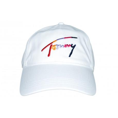 Casquette Tommy Jeans blanche logo multicolore pour femme