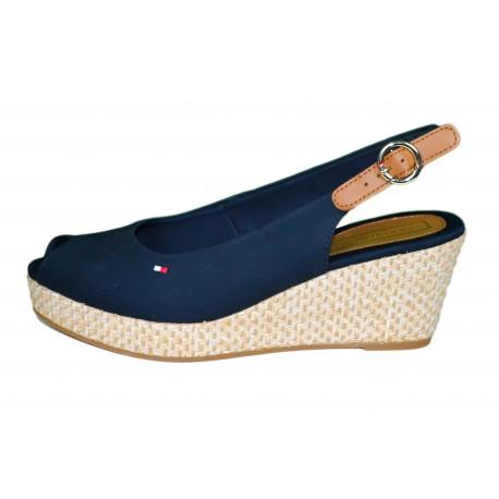 Sandales compensées Tommy Hilfiger bleu marine pour femme