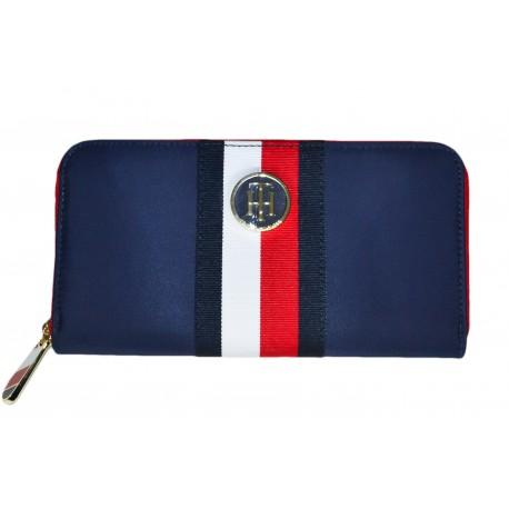 Portefeuille Tommy Hilfiger bleu marine rouge et blanc en nylon pour femme