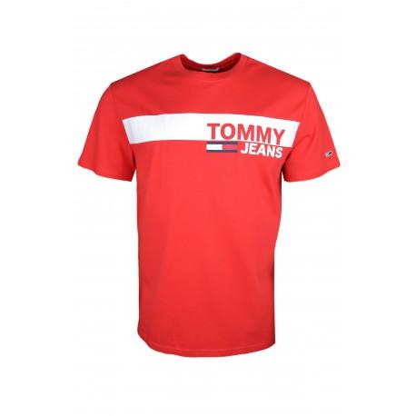 T-shirt col rond Tommy Jeans rouge régular fit pour homme