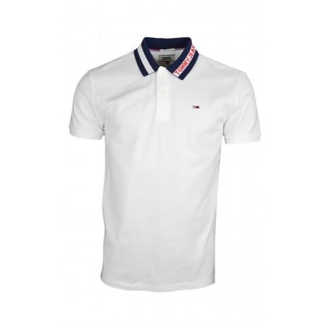 Polo Tommy Jeans blanc col à logo régular fit pour homme