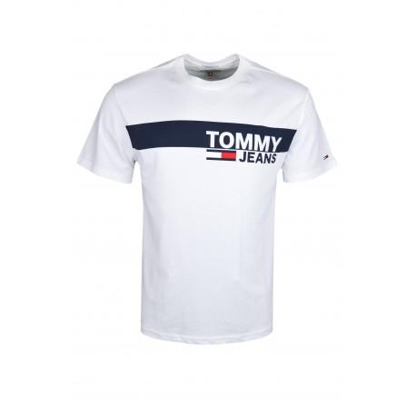 T-shirt col rond Tommy Jeans blanc bandeau bleu marine régular pour homme