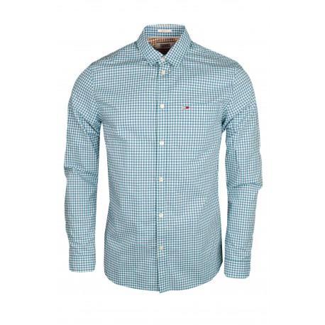 Chemise à carreaux Tommy Jeans vert et bleu slim fit pour homme