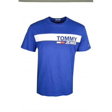 T-shirt col rond Tommy Jeans bleu roi bandeau blanc régular pour homme