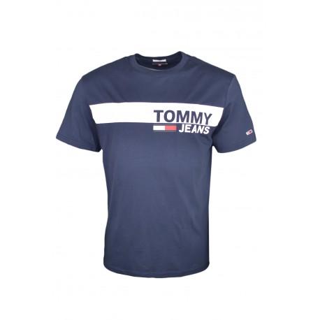 T-shirt col rond Tommy Jeans bleu marine bandeau blanc régular pour homme