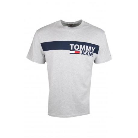 T-shirt col rond Tommy Jeans gris bandeau bleu marine régular pour homme