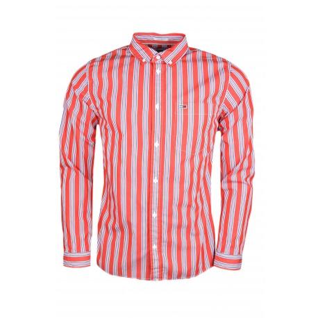 Chemise à rayures Tommy Jeans rouge et bleu pour homme