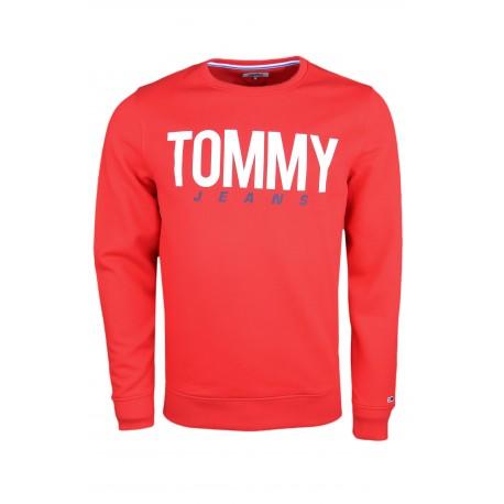 Sweat col rond Tommy Jeans rouge régular pour homme