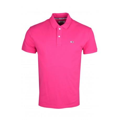 Polo Tommy Jeans rose basique régular pour homme