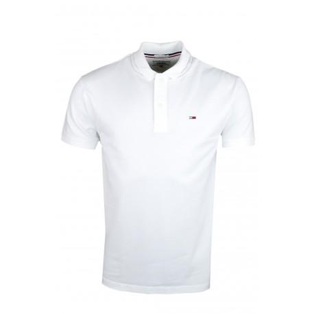 Polo Tommy Jeans blanc basique en maille piquée régular pour homme