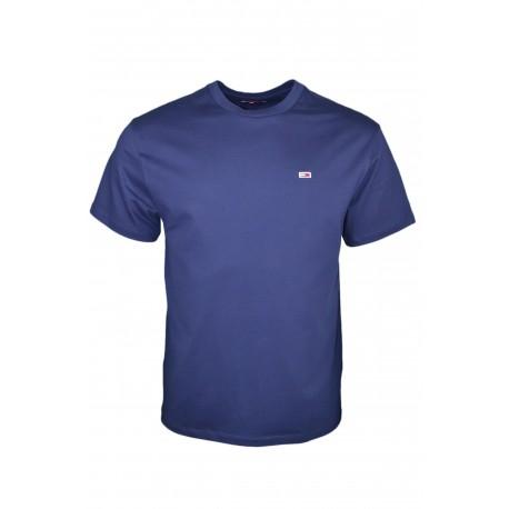 T-shirt col rond Tommy Jeans bleu marine basique régular pour homme