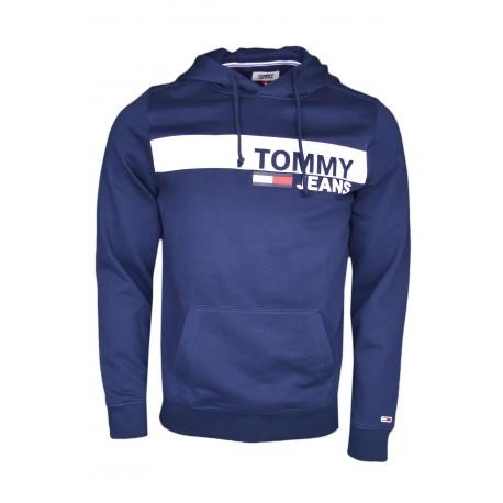 Sweat à capuche Tommy Jeans bleu marine bandeau blanc pour homme