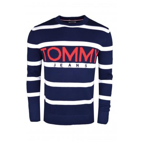 Pull col rond Tommy Jeans rayé bleu marine et blanc en maille pour homme