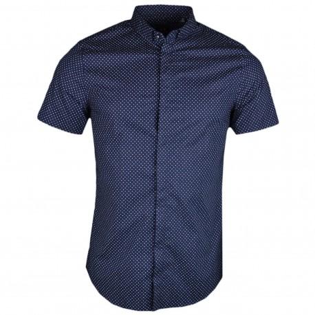 Chemise manches courtes bleu marine à mini imprimé lettres logo pour homme