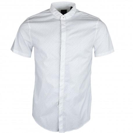 Chemise manches courtes Armani Exchange blanche à mini imprimé lettres logo pour homme