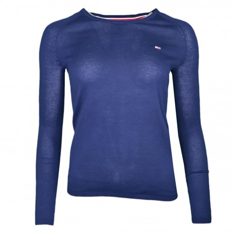 Pull col rond fin Tommy Jeans bleu marine liséré blanc pour femme