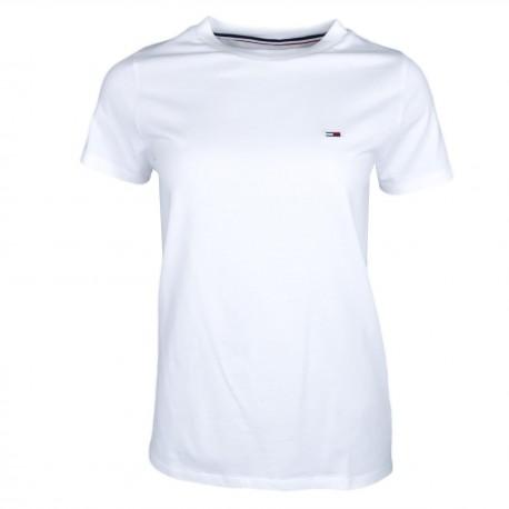T-shirt col rond Tommy Jeans blanc régular fit pour femme