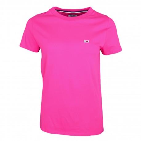 T-shirt col rond Tommy Jeans rose régular fit pour femme