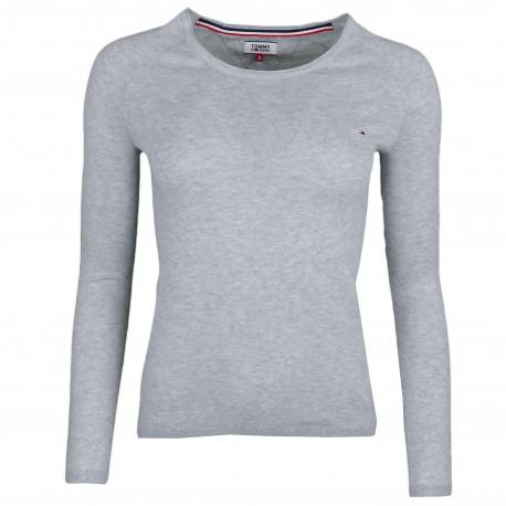 Pull col rond fin Tommy jeans gris liséré blanc pour femme