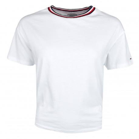 T-shirt col rond Tommy Jeans blanc à fente pour femme