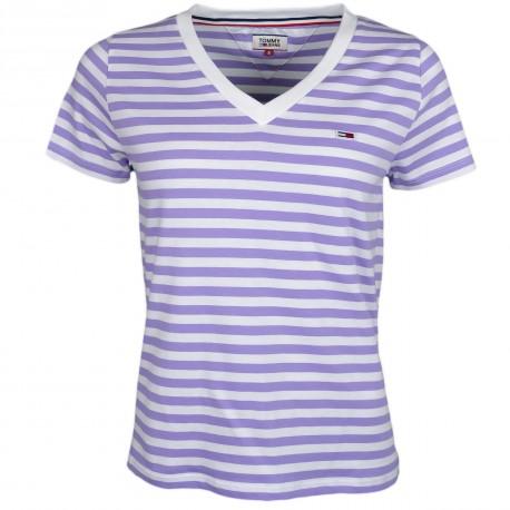 T-shirt col V Tommy Jeans rayé violet et blanc pour femme