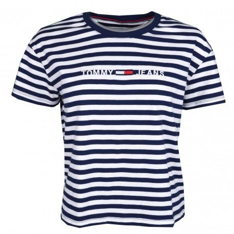 T-shirt court col rond Tommy Jeans rayé bleu marine et blanc logo brodé pour femme