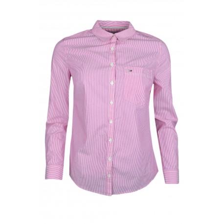 Chemise Tommy Jeans rayée rose et blanche en popeline pour femme