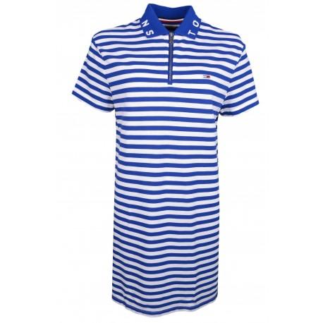 Robe polo Tommy Jeans rayé bleu et blanche pour femme