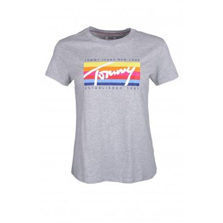 T-shirt col rond Tommy Jeans gris logo block multicolore pour femme