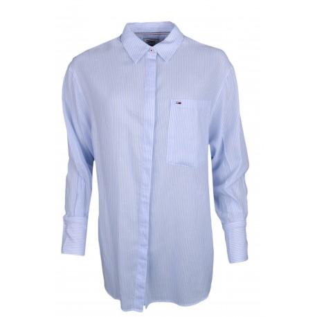 Chemise large Tommy Jeans rayée bleu et blanche à fentes pour femme