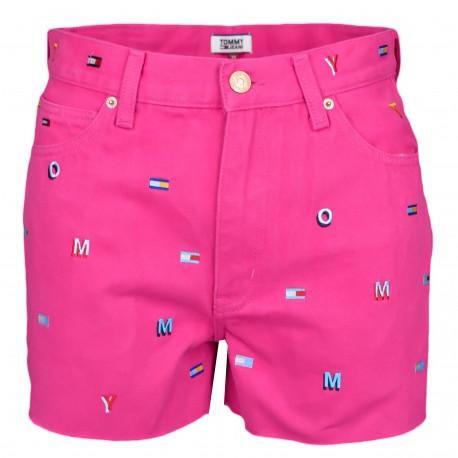 Short en jean Tommy Jeans rose broderies lettres et logos pour femme