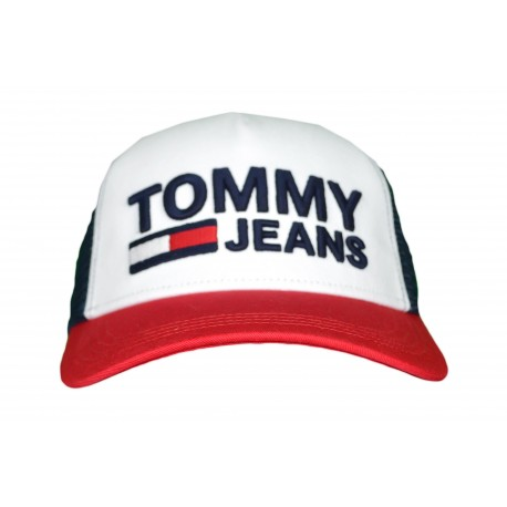 Casquette trucker Tommy Jeans bleu marine rouge et blanc pour homme
