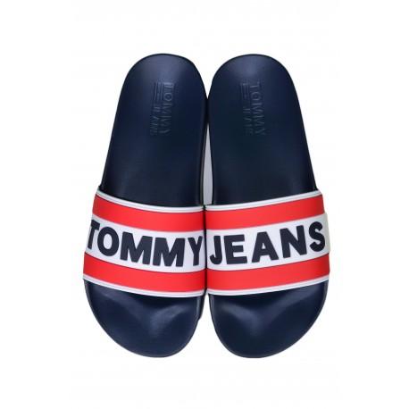 Claquettes Tommy Jeans bleu marine avec logo pour homme