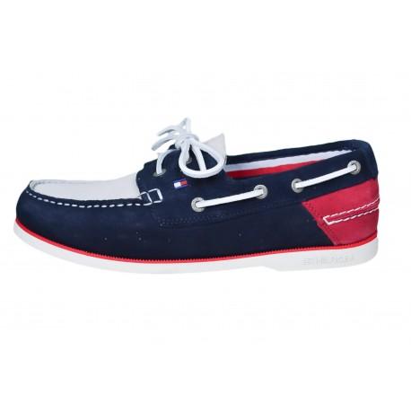 Chaussures bateau Tommy Hilfiger bleu marine rouge et beige en daim pour homme