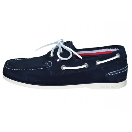 Chaussures bateau Tommy Hilfiger bleu marine en daim pour homme