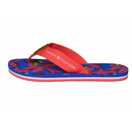Tongs Tommy Hilfiger orange corail à imprimé floral pour femme