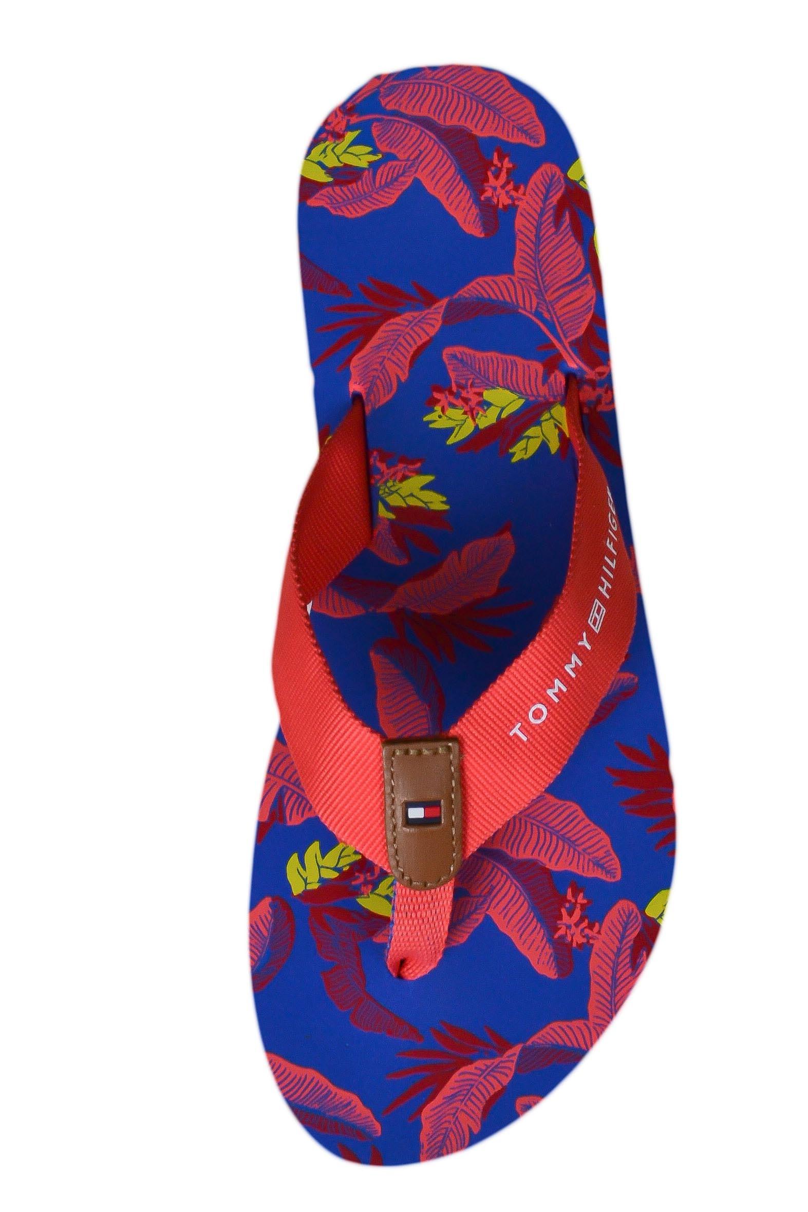 Tongs Tommy Hilfiger orange corail à imprimé floral pour femme To